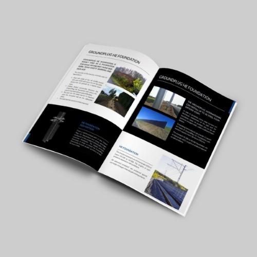 Projekty broszur reklamowych tworzonych w zgodności z brandingiem.