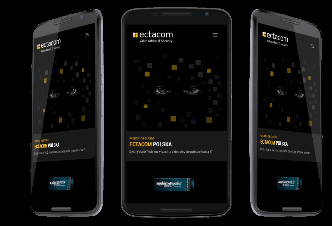 Responsywna strona internetowa firmy Ectacom - prezentacja na urządzeniu mobilnym